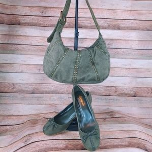 Dressbarn Misha green suede heels 8 & Levis purse
